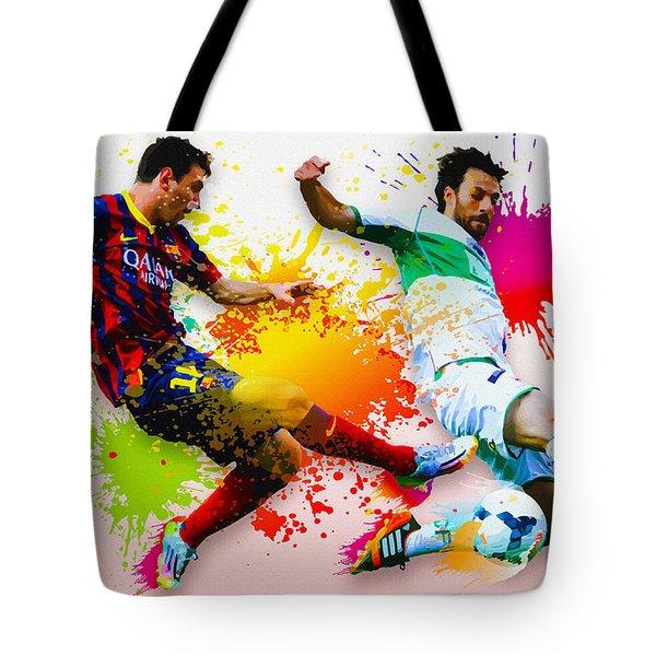 Lionel Messi Of Fc Barcelona Tote Bag