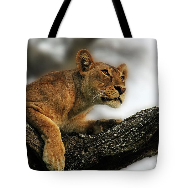 Lioness Tote Bag by Christine Sponchia