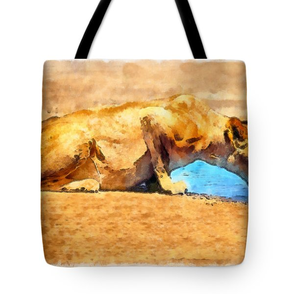 Lioness Drinking Tote Bag by George Rossidis