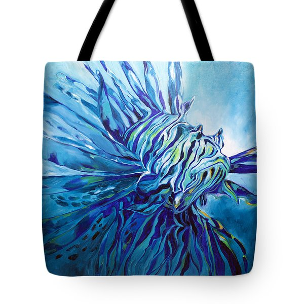 Lionfish Abstract Blue Tote Bag
