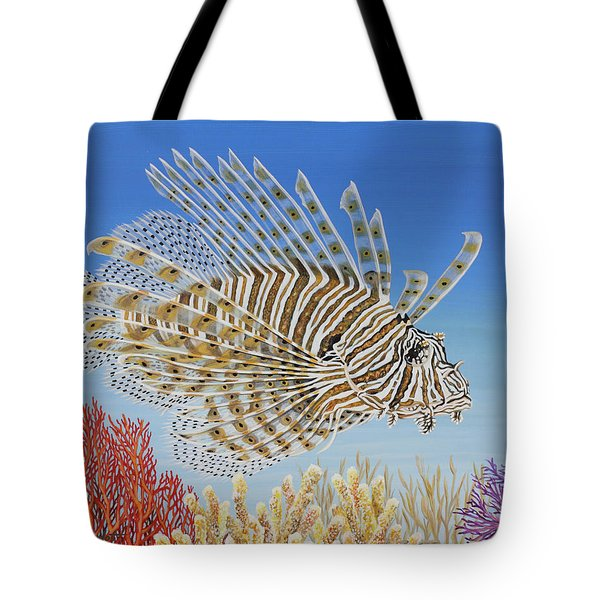 Tote Bag featuring the painting Lionfish And Coral by Jane Girardot