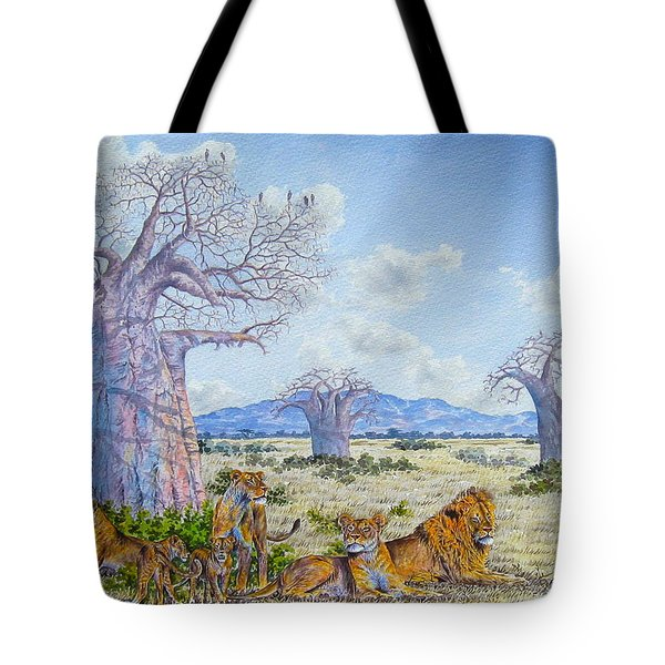 Lions By The Baobab Tote Bag