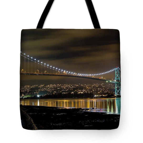 Lions Gate Bridge At Night Tote Bag