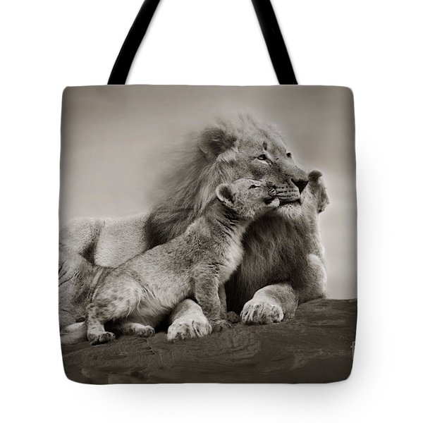 Tote Bag featuring the photograph Lions In Freedom by Christine Sponchia