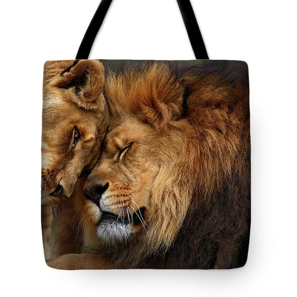 Lions In Love Tote Bag