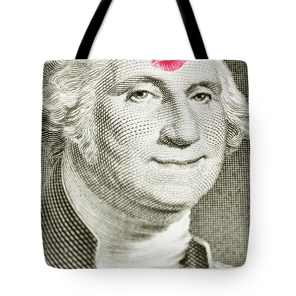 Tote Bag featuring the photograph Lipstick Kiss On One Dollar Bill by Bryan Mullennix