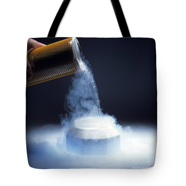 Liquid Nitrogen Being Poured Tote Bag by Charles D Winters