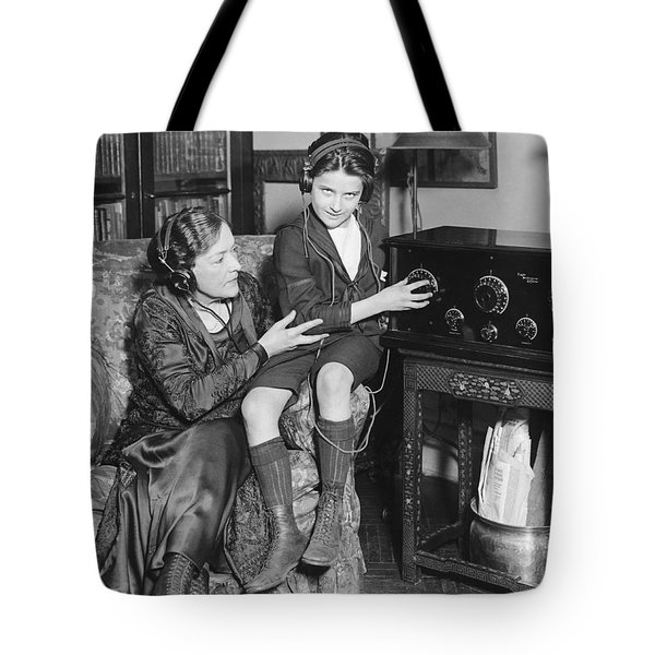 Listening To Radio Show Tote Bag