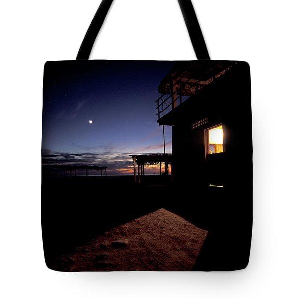 Lit Palapa At Twilight Along The Coast Tote Bag