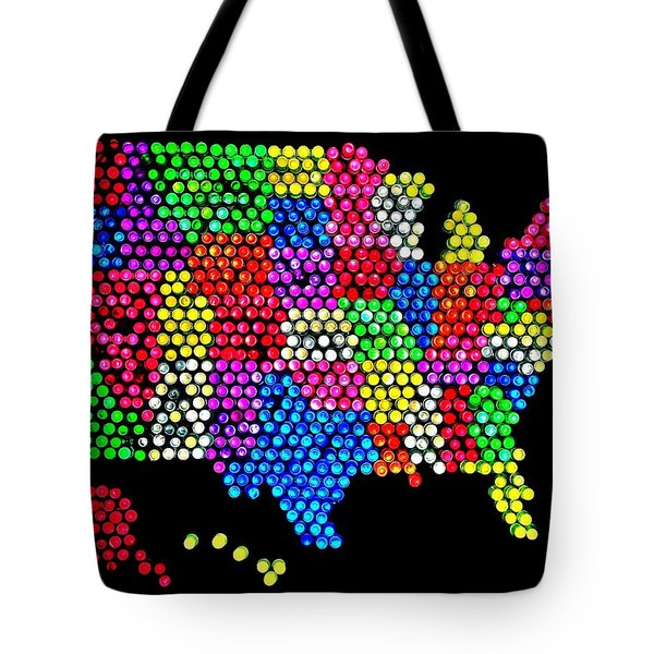 Lite Brited States Of America Tote Bag by Benjamin Yeager