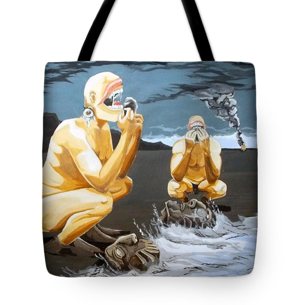 Tote Bag featuring the painting Lithophagus Listen With Music Of The Description Box by Lazaro Hurtado