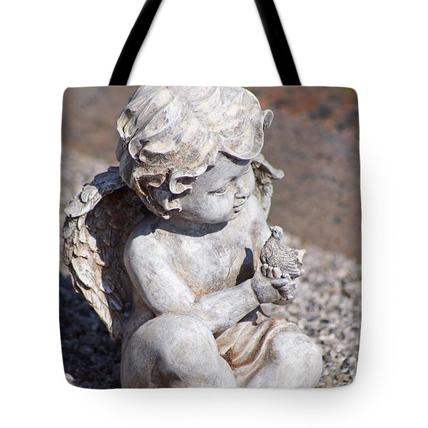 Little Angel With Bird In His Hand - Sculpture Tote Bag