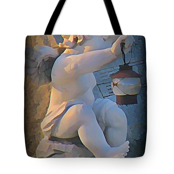 Little Angel With Lantern Tote Bag by John Malone