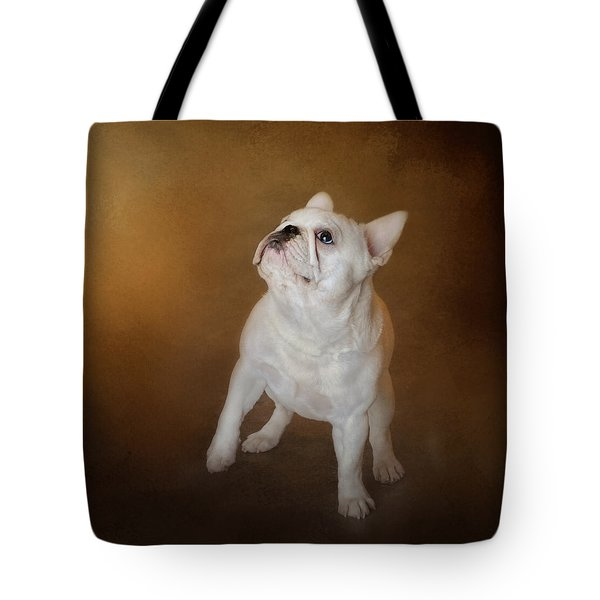 Little Beggar - White French Bulldog Tote Bag