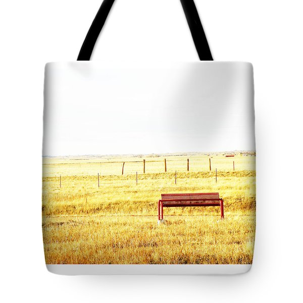 Little Bench On The Prairie Tote Bag by Lenore Senior