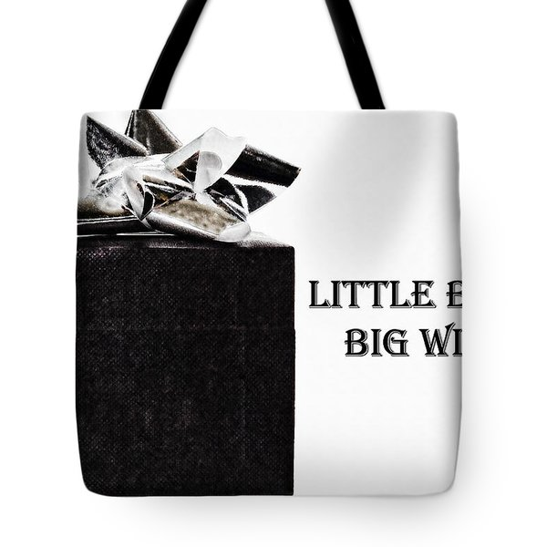 Tote Bag featuring the photograph Black Present With A Silver Bow by Vizual Studio
