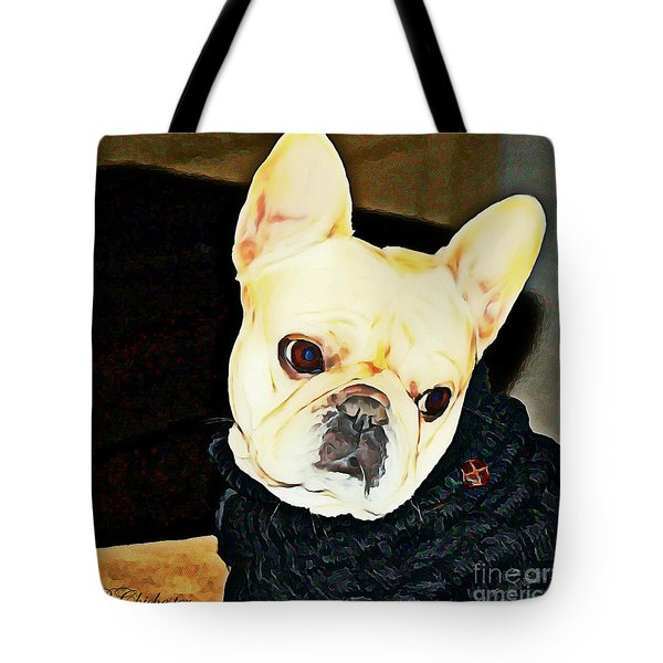Tote Bag featuring the painting Little Black Sweater by Barbara Chichester