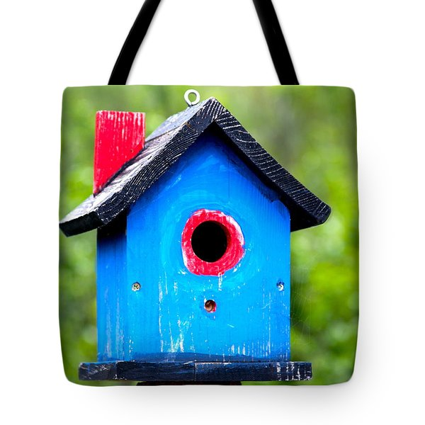 Little Blue Birdhouse Tote Bag by Karon Melillo DeVega