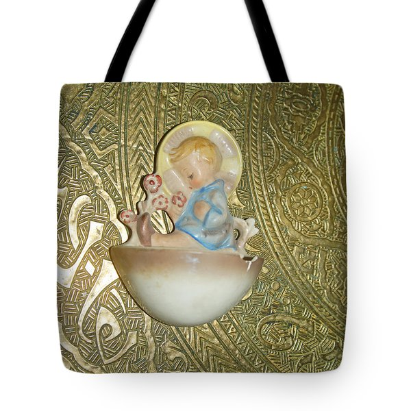 Newborn Boy In The Baptismal Font Sculpture Tote Bag