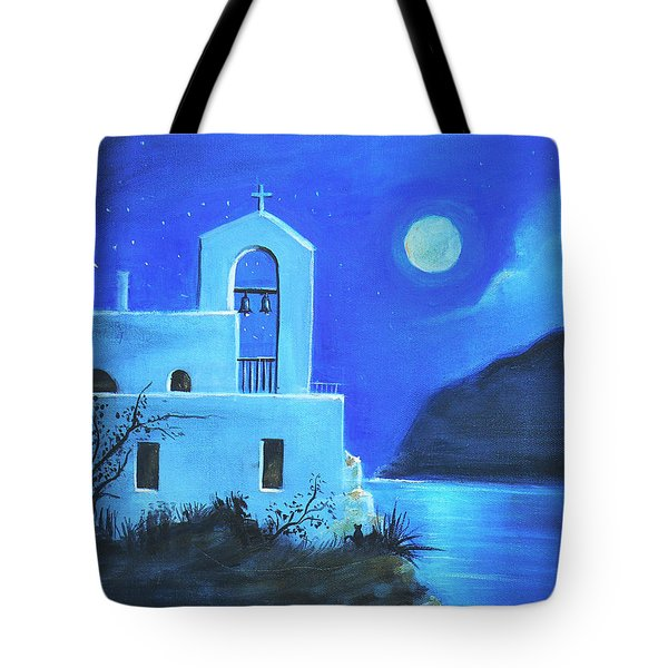 Tote Bag featuring the painting Little Church By The Sea by S G