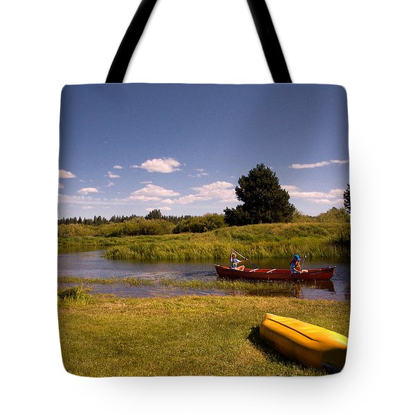 Little Deschutes River Bend Sunriver Thousand Trails Tote Bag