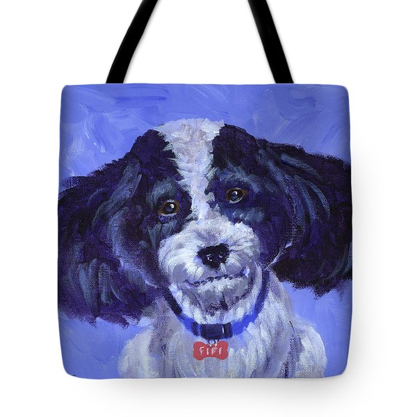 Little Dog Blue Tote Bag