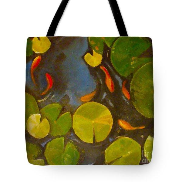 Little Fish Koi Goldfish Pond Tote Bag