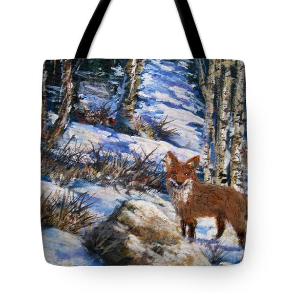 Tote Bag featuring the painting Little Fox by Megan Walsh