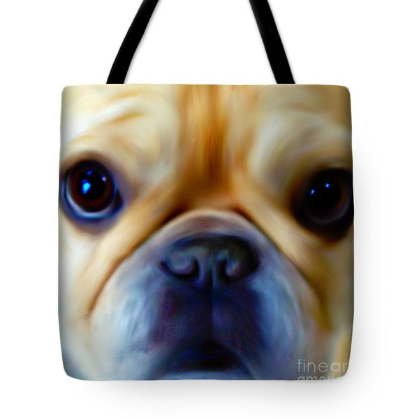 Little Frenchie Face Tote Bag by Barbara Chichester