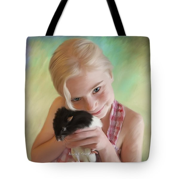 Little Girl And Pet Rat Tote Bag by Angela A Stanton