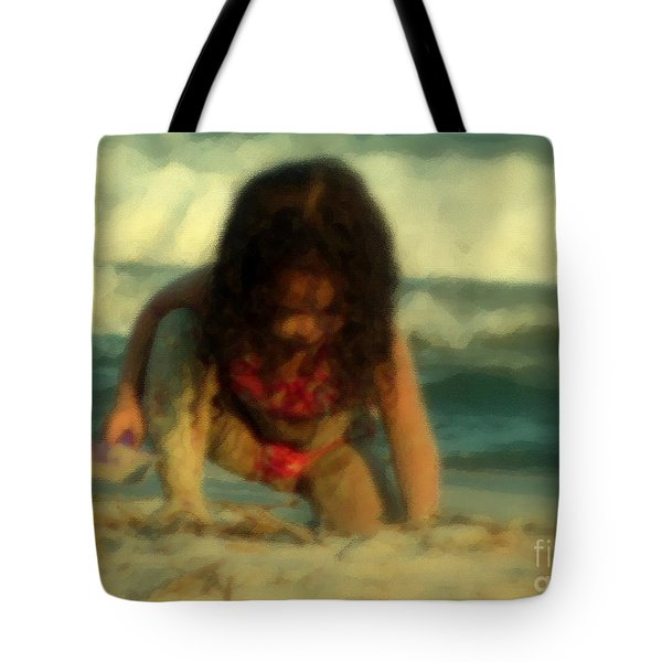 Tote Bag featuring the photograph Little Girl At The Beach by Lydia Holly