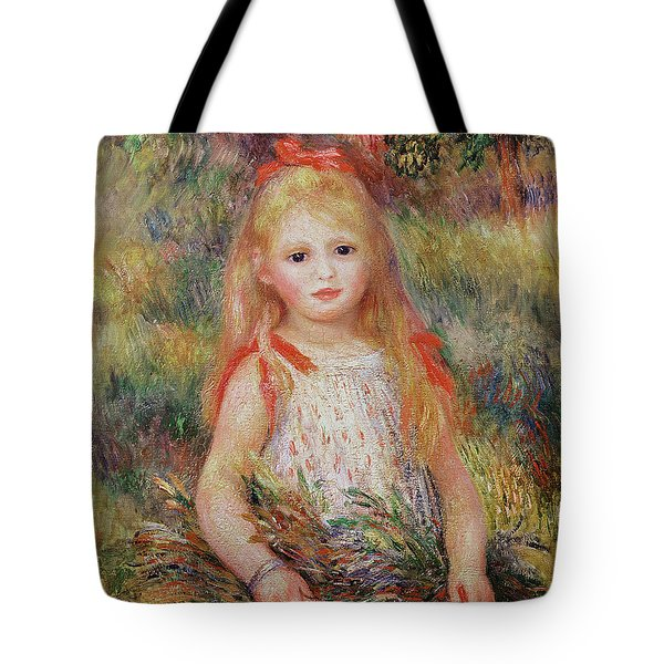 Little Girl Carrying Flowers Tote Bag by Pierre Auguste Renoir