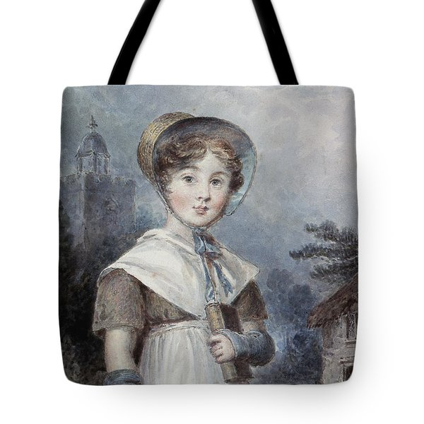 Little Girl In A Quaker Costume Tote Bag by Isaac Pocock