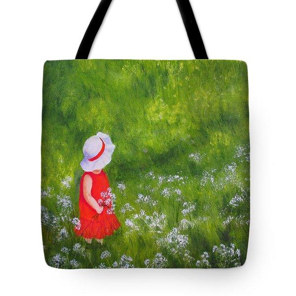 Girl In Meadow Tote Bag