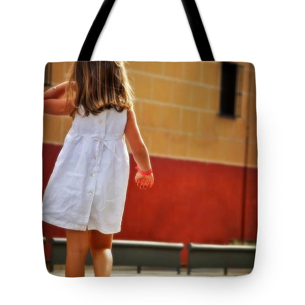 Little Girl In White Dress Tote Bag by Mary Machare