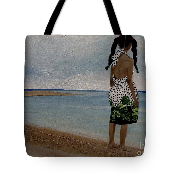 Little Girl On The Beach Tote Bag by Chelle Brantley