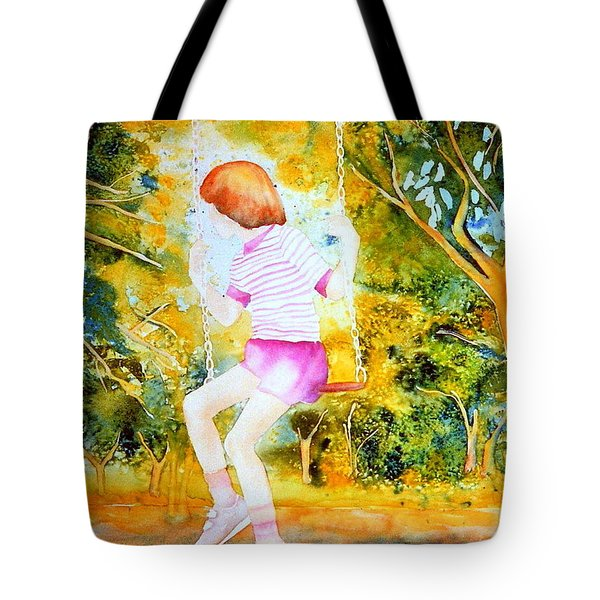 Little Girl On The Park Swing Westmount Quebec City Scene Montreal Art Tote Bag by Carole Spandau