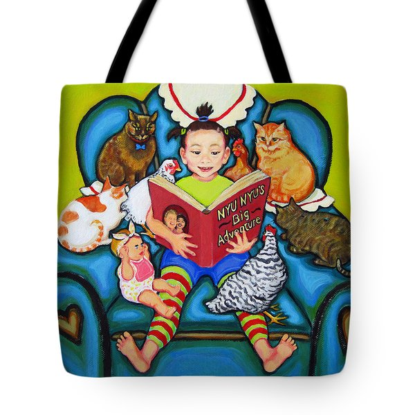 Little Girl Reading To Doll Cats Chickens Tote Bag by Rebecca Korpita