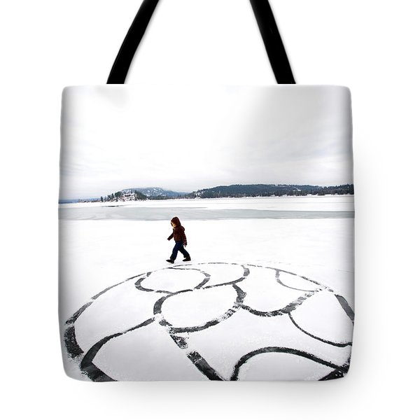 Little Girl Walking Around Large Design Tote Bag