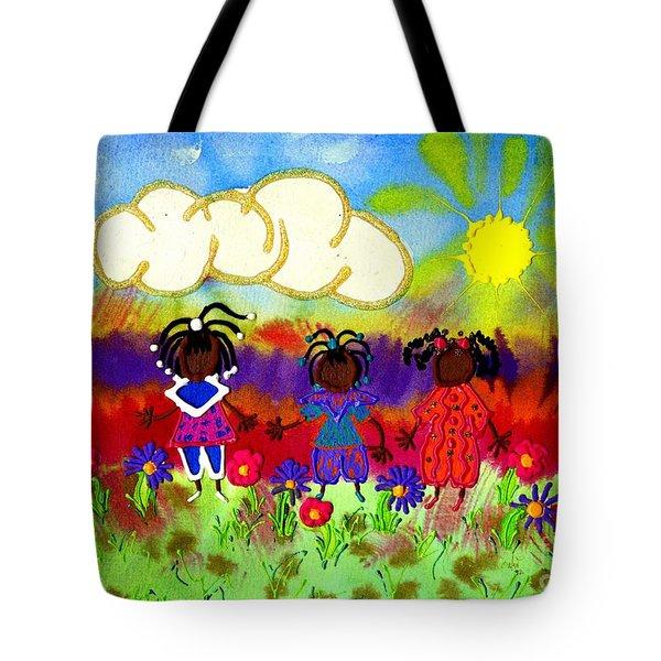 Little Girlfriends Tote Bag by Angela L Walker