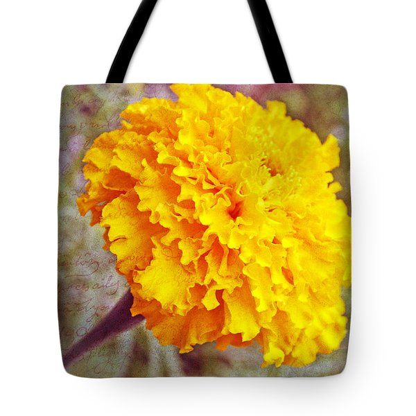 Tote Bag featuring the photograph Little Golden  Marigold by Kay Novy