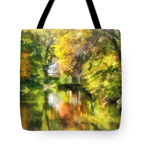 Little House By The Stream In Autumn Tote Bag by Susan Savad