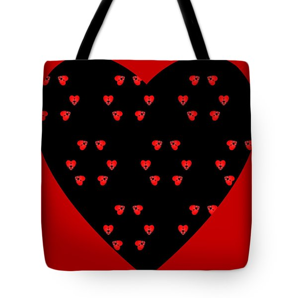 Tote Bag featuring the digital art Little Kaleidoscope Hearts by Pete Trenholm