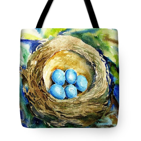 Tote Bag featuring the painting Little Low Heavens by Trudi Doyle