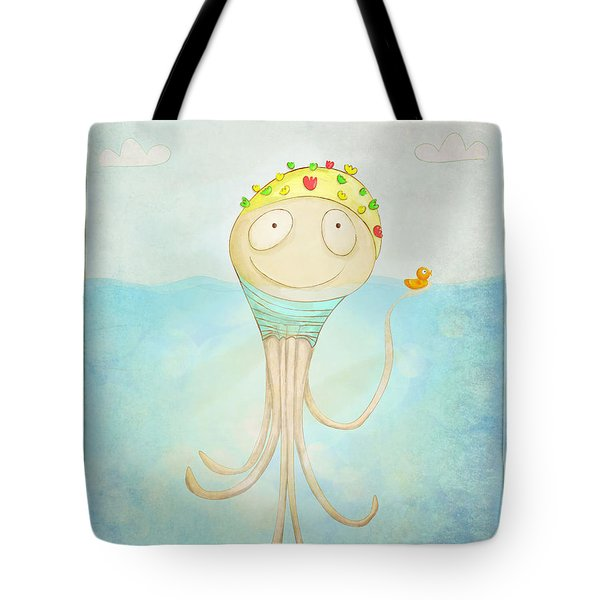 Tote Bag featuring the digital art Little Octopus The Swimming Champ And His Rubber Ducky by Lenny Carter