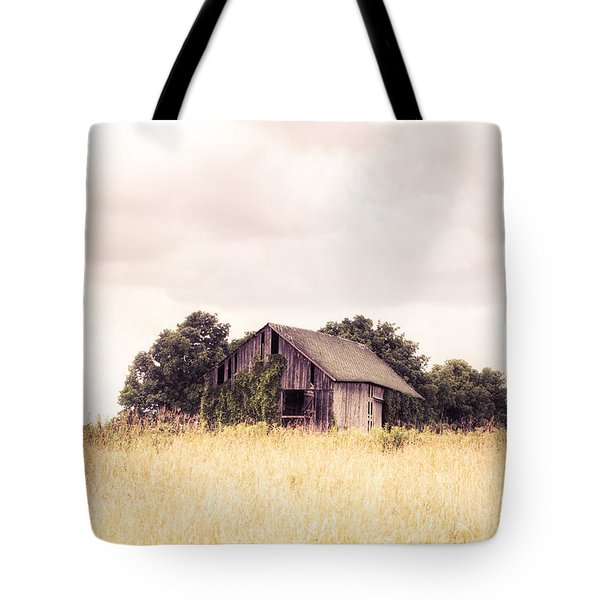 Tote Bag featuring the photograph Little Old Barn In A Field - Landscape  by Gary Heller