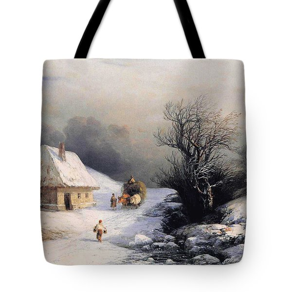 Little Ox Cart Tote Bag by Ivan Aivazovsky