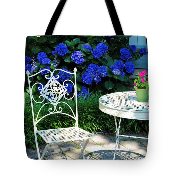 Little Patio Chair Tote Bag by Jan Amiss Photography