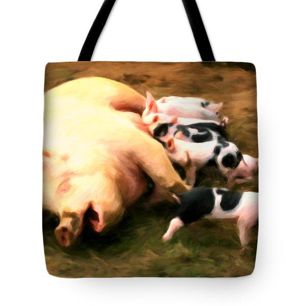Little Piggies Tote Bag by Michael Pickett