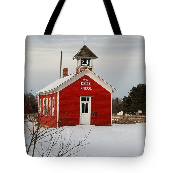 Little Red Schoolhouse Tote Bag by Janice Adomeit